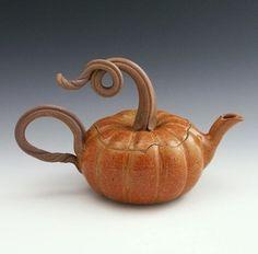 Pumpkin Teapot by Bauman Stoneware.