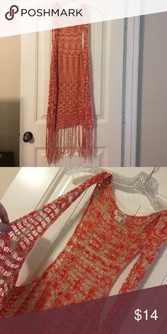Orange Crochet Fringe Vest Never been worn. Mossimo Supply Co. Sweaters