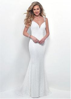 [118.29] Wonderful Sequin Lace V-neck Neckline Backless Mermaid Evening Dresses With Beadings - laurenbridal.com