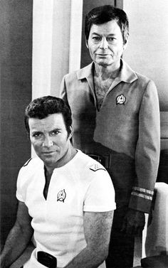 Publicity shot of DeForest Kelley and William Shatner taken during the production of Star Trek: The Motion Picture.
