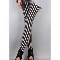 British Style Vertical Stripes Slimming Black and White Milk Silk Women's Leggings