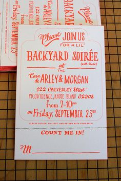 backyard soirée handdrawn letterpress invitation