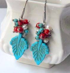 Turquoise Leaf  Earrings,Coral Cluster Long Colorful Earrings  Bohemian Earrings, Dangle Earrings by lyrisgems on Etsy