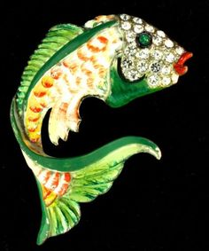 HTF Vtg Early CORO Enamel Rhinestone FISH Figural Fur Clip Brooch Pin - AMAZING! in Jewelry & Watches, Vintage & Antique Jewelry, Costume, Designer, Signed, Pins, Brooches | eBay