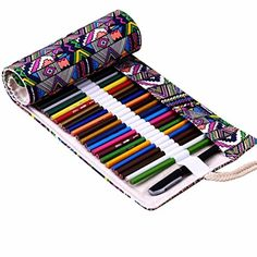 Oksale Handmade Canvas 36 Holes Roll Pencil Case Office Stationery Writting Pen Bag National Style >>> Find out more about the great product at the image link.Note:It is affiliate link to Amazon.
