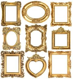 Picture of Golden frames isolated on white background. Collection of antique picture frames stock photo, images and stock photography. Vintage Frames, Antique Picture Frames, Antique Pictures, Antique Frames, Vintage Mirrors, Home Decor Furniture, Dollhouse Furniture, Chic Office Decor, Baroque Fashion
