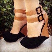 Wish |  Wedges Pumps for Women Platform High Heels Round Toe Patchwork High Heels Shoes Platform Wedges Shoes