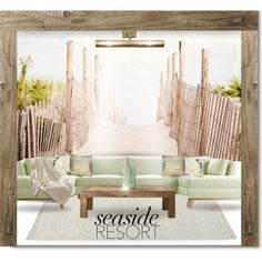 SEASIDE RESORT by kiki-parker on Polyvore featuring interior, interiors, interior design, home, home decor, interior decorating, Joybird Furniture, Flamant, West Elm and Jayson Home