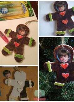 How fun are these DIY gingerbread ornaments with the kids'€™ pictures?