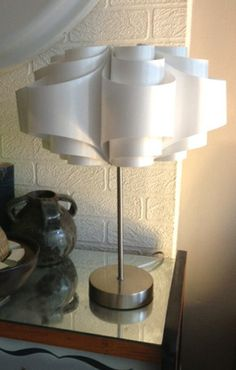 Spun Steel Stem Lamp with retro Space-Age shade.
