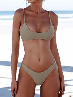 Minimalist Solid Color Bikini Set