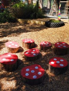 "Recycled & reclaimed tree timber toadstools at Highvale Kindergarten Glen Waverley in Victoria, image shared by Yarn Strong Sista ("",("