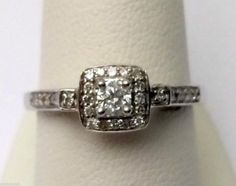 14kt White Gold Halo Style Round Cut Diamond Engagement Bridal Promise Ring Band (0.50ct. tw).... #gold #diamond #engagement #wedding #bridal #fashion #jewelry #ring #diamondring #engagementring #bridalring