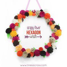 """""""Lines Across"""": Scrappy Flower Hexagon Wreath"""