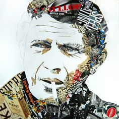 "Ines Kouidis ""Steve"" 40x40cm, collage on paper"
