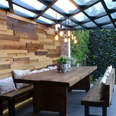 30 Ideas For Pergola De Madera Terraza Pergola With Roof, Outdoor Pergola, Backyard Pergola, Pergola Plans, Outdoor Dining, Design Jardin, Terrace Design, Backyard Patio Designs, Pergola Designs