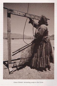 Grace Homer | beaming the warp | Arizona, U.S.A. | undated | from Navajo Weaving Way: The Path from Fleece to Rug by Noël Bennett | John Running: photographer