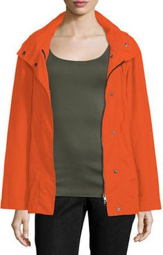 Shop Now - >  https://api.shopstyle.com/action/apiVisitRetailer?id=530384231&pid=uid6996-25233114-59 Eileen Fisher Hooded Zip-Front Jacket W/Stand Collar, Plus Size  ...