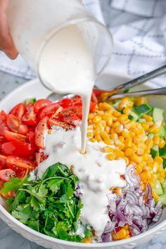 Creamy Corn Salad - - This crowd-pleasing fresh corn salad has amazing fresh flavor! Perfect for Potlucks and BBQs. - : Creamy Corn Salad - - This crowd-pleasing fresh corn salad has amazing fresh flavor! Perfect for Potlucks and BBQs. Best Corn Salad Recipe, Corn Salad Recipes, Corn Salads, Clean Eating Snacks, Healthy Eating, Fresh Corn Salad, Creamy Corn, Cooking Recipes, Healthy Recipes