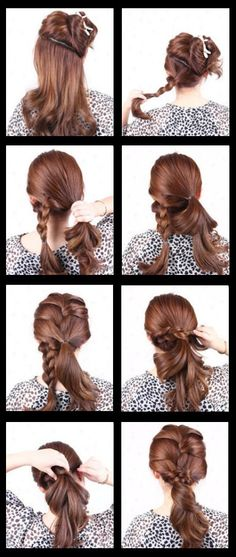Multiple - braid ponytail - simple, easy, twisted, double, multiple, french, braided, ponytail, hairstyle (with tutorial)