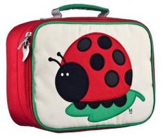 Juju the Ladybug Coated Canvas Lunchbox by #BeatrixNY - These insulated lunch boxes are a playful way to keep sandwiches & carrot sticks fresh until lunch time. Made with heavy-duty nylon and machine washable for kid- proof durability and easy cleaning. Back side has a name tag and a zipped pocket. Tested PVC free, lead free, and phthalate free.