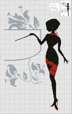 0 point de croix silhouette femme noir et rouge  - cross stitch silhouette lady black and red