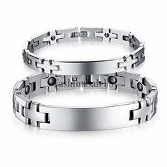 8MM//10MM Stainless Steel White Ceramic Magnetic Health Clasp Women Men Bracelet