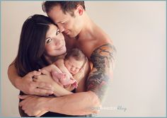 mom wrapped/bare shoulders, dad shirtless (newborn)