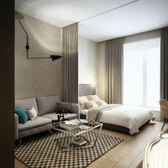 studio murs en gris anthracite, tapis blanc noir, deco studio 20m2