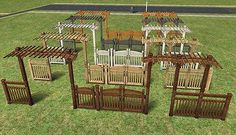"""Mod The Sims - Fence-Arches and Fences (Maxis-matching """"Pinegultcher"""" set)"""