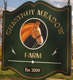This classy sign for Chestnut Meadow Farm includes hand painted artwork as well as incise carved and gilded text. Horse Wall Decals, Horse Mural, Cottage Names, Farm Entrance, Farm Name, Storefront Signs, Barn Signs, Business Signs, Horse Farms