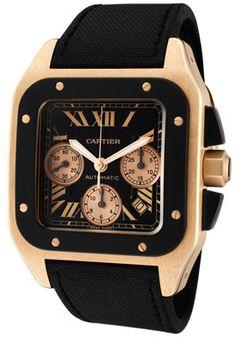 91a8c11961ca Cartier W2020003 Watches,Men's Santos 100 XL Automatic Chrono 18K Rose Gold  Case Black Toile De Voile Strap, Chronograph Cartier Automatic Watches
