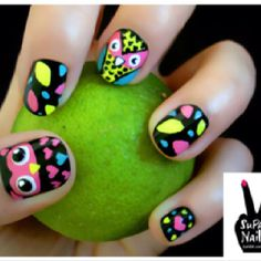 to cute owl nails