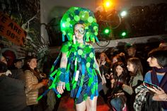 Earth Celebrations--Direct Fashion Show at the Museum of Reclaimed Urban Space. LES, NYC. Recycler Glass costume. Photo by Brian D. Caron.