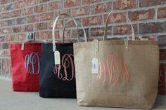 94f588685 SALE 20.00 Monogram Jute Tote Burlap Bag MudPie by DashForward Burlap  Monogram, Burlap Tote,