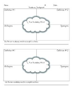 This is a graphic organizer that you can use to help your students develop grade level appropriate academic vocabulary.  There is a space for the new vocabulary word, definitions, antonyms, synonyms, and allows space for students to use the new vocabulary word in a complete sentence.