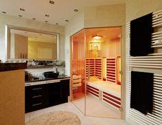 Sauna multifunzionale - infrarossi, finlandese e biosauna Infrarot Sauna, Divider, Loft, Bed, Interior, Saunas, Furniture, Home Decor, Sauna Ideas