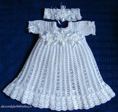 Crochet Christening Dress and headband with flowers by Dachuks Baby Girl's White Dress with Shoes and Bonnet - Baptism, Christening, Blessing, Baby Shower Gift by SweetSouthernBabies on Etsy Bonnet Crochet, Crochet Baby Dress Pattern, Crochet Baby Cardigan, Crochet Baby Clothes, Crochet Girls, Baby Girl White Dress, Blessing Dress, Baptism Gown, Christening Gowns