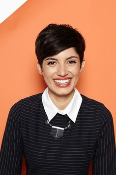 """Hey, Shorty: 4 Rad 'Dos For Pixie Cuts #refinery29  http://www.refinery29.com/55218#slide-16  The Piece-y Pixie The key to this classic style is a great haircut. From there, you can make it your own by drawing inspiration from the past and adding modern touches. The muse for this look: """"Winona Ryder in Girl Interrupted,"""" says Brill.     Claudie Pierlot dress; Maniamania Silver Plated with Clear Quartz and Chlorite Necklace, $385, available Maniamania."""