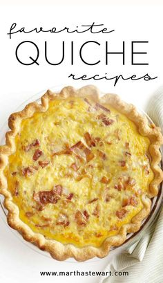 Favorite Quiche Recipes | Martha Stewart Living - You're probably already familiar with quiche recipes. Rich, savory custard flecked with things like cheese and fresh vegetables baked in a buttery crust, quiche is the perfect make-ahead recipe for company's-coming brunches, lunches, and dinners. Whether you like yours with bacon or spinach, our quiche recipes will keep you and your guests happy.
