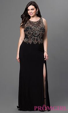 Sleeveless Floor Length Bead Embellished Bodice by Elizabeth K at PromGirl.com