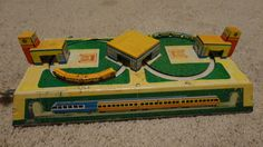 Vintage Old Tin Passenger Train Station Toy by tennesseehills, $34.00