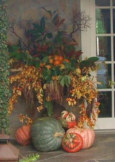 Since it's the fall season, here are some brilliant Fall Porch decor ideas. These Rustic Fall Front Porch decor ideas will bring in the colorful autumn vibe Fall Containers, Succulent Containers, Container Flowers, Container Plants, Fall Planters, Garden Planters, Fall Arrangements, Autumn Decorating, Primitive Fall Decorating