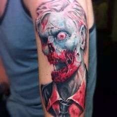 Attractive 3D Horror Zombie Tattoo Design For Sleeve