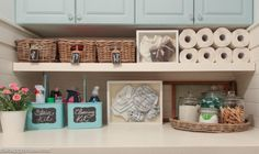 Laundry room labeled organizers