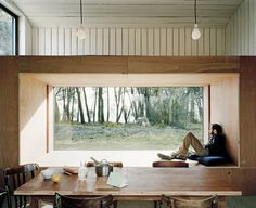 Perfectly rustic and fitting window seat concept.