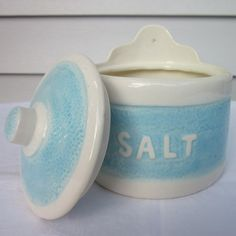 Your place to buy and sell all things handmade Salt Cellars, Salt Box, Glazes For Pottery, Pottery Ideas, Spoons, Vintage Kitchen, Wall Mount, Script, Container