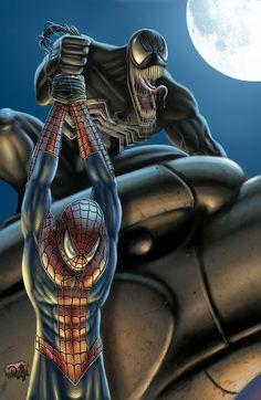 #Spiderman #Fan #Art. (Spiderman Vs Venom) By: DAVID-OCAMPO. (THE * 5 * STÅR * ÅWARD * OF: * AW YEAH, IT'S MAJOR ÅWESOMENESS!!!™)[THANK Ü 4 PINNING!!!<·><]<©>ÅÅÅ+(OB4E)