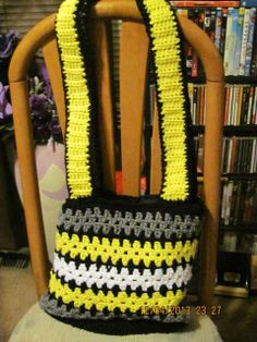 """This bag was made to order for a customer. If you're interested in something like this, feel free to contact her website http://adasstudent.weebly.com/crotchet.html with colors. The PayPal button to order is under """"Crotchet."""""""