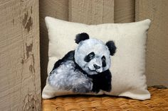 Painted Panda Bear Pillow Zoo animal painting by LittleLoBoutique, $42.00